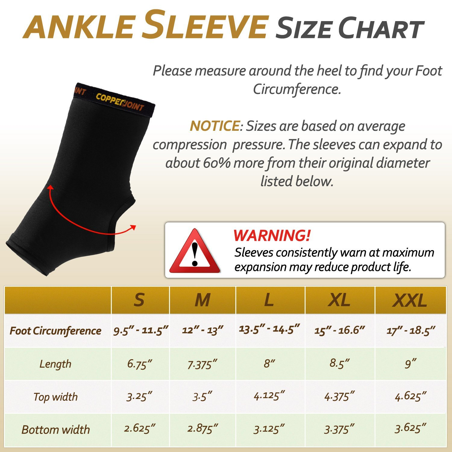 size chart for the copperpoint basketball ankle compression brace