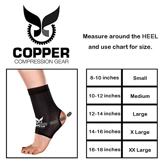 copper ankle brace sizing chart